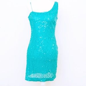 Accidentaly In Love Teal Blue Sequin Bodycon